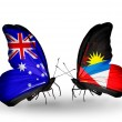 Stock Photo: Two butterflies with flags of relations Australiand Antiguand Barbuda