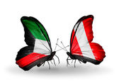 Två fjärilar med flaggor av förbindelserna mellan sverige och peru — Stockfoto