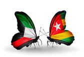 Two butterflies with flags of relations Kuwait and Togo — Zdjęcie stockowe