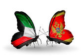 Two butterflies with flags of relations Kuwait and Montenegro — Stock Photo
