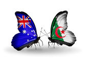 Two butterflies with flags of relations Australia and Algeria — Stock Photo