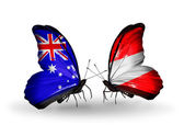 Two butterflies with flags of relations Australia and Austria — Stock Photo