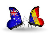 Dos mariposas con las banderas de las relaciones de España y andorra — Foto de Stock