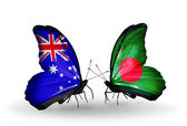 Two butterflies with flags of relations Australia and Bangladesh — Stock Photo