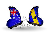 Two butterflies with flags of relations Australia and Barbados — Stock Photo