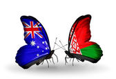Two butterflies with flags of relations Australia and Belarus — Stock Photo