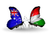 Two butterflies with flags of relations Australia and Hungary — Stock Photo