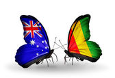 Two butterflies with flags of relations Australia and Guinea — Stock Photo