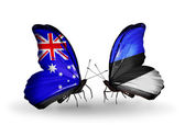 Two butterflies with flags of relations Australia and Estonia — Stock Photo