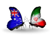 Two butterflies with flags of relations Australia and  Iran — Stock Photo