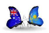 Two butterflies with flags of relations Australia and Kazakhstan — Stock Photo