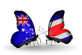 Two butterflies with flags of relations Australia and Costa Rica — Stock Photo