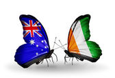 Two butterflies with flags of relations Australia and Cote Divoire — Stock Photo