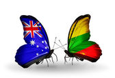 Two butterflies with flags of relations Australia and Lithuania — Stock Photo