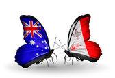 Dos mariposas con banderas de relaciones australia y malta — Foto de Stock