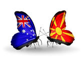 Two butterflies with flags of relations Australia and Macedonia — Stock Photo