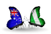 Two butterflies with flags of relations Australia and Nigeria — Stock Photo