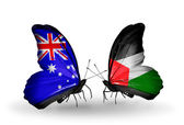 Two butterflies with flags of relations Australia and Palestine — Stock Photo