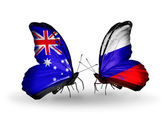 Two butterflies with flags of relations Australia and Russia — Stock Photo