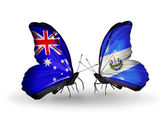Two butterflies with flags of relations Australia and Salvador — Stock Photo