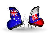 Two butterflies with flags of relations Australia and Slovakia — Stock Photo