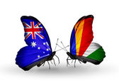 Two butterflies with flags of relations Australia and Seychelles — Stock Photo