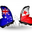 Two butterflies with flags of relations Australiand Tonga — Stock Photo #41883965