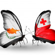 Two butterflies with flags of relations Cyprus and Tonga — Stock Photo #41884907