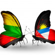 Stock Photo: Two butterflies with flags of relations Lithuaniand Antiguand Barbuda