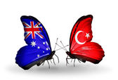 Two butterflies with flags of relations Australia and Turkey — Stock Photo