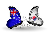 Two butterflies with flags of relations Australia and South Korea — Stock Photo
