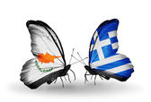Two butterflies with flags of relations Cyprus and Greece — Stock Photo