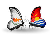 Two butterflies with flags of relations Cyprus and Kiribati — Stock Photo