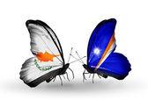 Twee vlinders met vlaggen van betrekkingen cyprus en marshall eilanden — Stockfoto