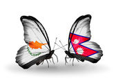 Two butterflies with flags of relations Cyprus and Nepal — Zdjęcie stockowe