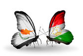 Two butterflies with flags of relations Cyprus and Tajikistan — Zdjęcie stockowe