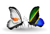 Two butterflies with flags of relations Cyprus and Tanzania — Zdjęcie stockowe