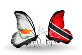 Two butterflies with flags of relations Cyprus and Trinidad and Tobago — Zdjęcie stockowe