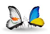 Två fjärilar med flaggor av förbindelserna mellan cypern och ukraina — Stockfoto