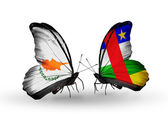 Two butterflies with flags of relations Cyprus and Central African Republic — Stock Photo