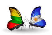 Two butterflies with flags of relations Lithuania and Argentina — Zdjęcie stockowe