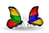 Two butterflies with flags of relations Lithuania and Armenia — Stock Photo