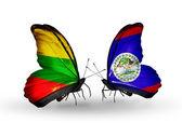 Mariposas con banderas de Lituania y Belice — Foto de Stock