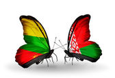 Butterflies with flags of Lithuania and Belarus — Stock Photo
