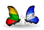 Butterflies with flags of Lithuania and Honduras — Stock Photo