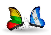 Butterflies with flags of Lithuania and Guatemala — Stock Photo