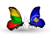Butterflies with flags of Lithuania and Kosovo — Stock Photo
