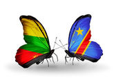 Butterflies with flags of Lithuania and Kongo — Stock Photo