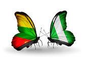 Mariposas con banderas de lituania y nigeria — Foto de Stock