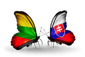 Butterflies with flags of Lithuania and Slovakia — Stock Photo